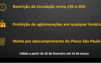 ESTADO DE SÃO PAULO TERÁ TOQUE DE RECOLHER NO PERÍODO NOTURNO ENTRE 23HS ATÉ 05HS
